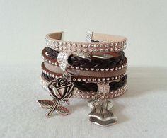 Bracelet large Manchette breloques Liberty Feminité beige tendance Automne multi liens simili cuir pour femme : Bracelet par libertylily