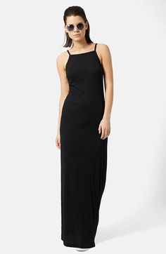 cb6fd11b073 Topshop Ribbed Black Maxi Dress (Regular   Petite)