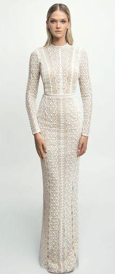 Lior Charchy NYC 2017 Bridal long sleeves high neck heavy embellishment sheath wedding gown #weddingdress #wedding #weddinggown #bridedress