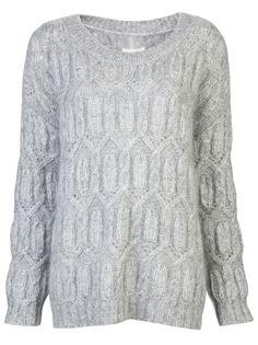 $425 NILI LOTAN Open Cable Sweater