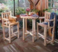 3 Piece Log Cafe Bistro Set by Rustic Natural Cedar Furniture company. $514.99. The three-piece bistro set includes a charming log-style round table and two sturdy-backed bar stools with rungs at just the right height to hold your feet. The fact that the set is bar height makes it a trendy and fun addition to any casual dining area. While roomy enough to provide ample dining space for two, this cozy ensemble occupies little room and tucks neatly into your favor...