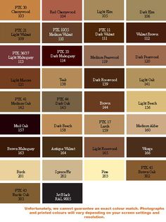 the color thesaurus charts brown colors and black colors