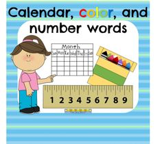 Calendar, color, and number words from Notveryfancy on TeachersNotebook.com -  (40 pages)  - Center activities and student recording sheets to practice calendar, color, number, and ordinal words.