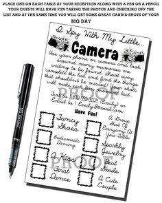 Wedding Photo Game - I SPY With My Little Camera - Print-It-Yourself. $5.00, via Etsy.