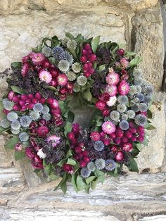 20 inch Pink Blue Purple and Green wreath Dried Flowers