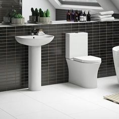 Mode Hardy Rimless Slimline Close Coupled Toilet And Full Pedestal Basin Suite Cloakroom Suites, Close Coupled Toilets, Concealed Cistern, Basin Mixer Taps, Bowl Designs, Ceramic Materials, Glazed Ceramic, Keep It Cleaner, Contemporary