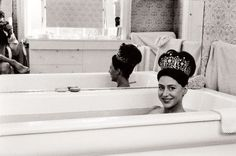 WELL, you just NEVER know, do you? Princess Margaret in a bathtub ... Wearing a diamond crown .....