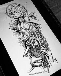 Shark Tattoos, Leg Tattoos, Body Art Tattoos, Sleeve Tattoos, Tattoos For Guys, Sketch Tattoo Design, Tattoo Sleeve Designs, Tattoo Sketches, Posiden Tattoo