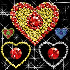 Vector Diamond Hearts #GraphicRiver Vector diamond hearts of different color on black background Created: 14January12 GraphicsFilesIncluded: VectorEPS Layered: Yes MinimumAdobeCSVersion: CS Tags: collection #crystal #day #decoration #design #diamond #disco #expensive #fashion #fourteen #gem #gemstone #glamour #heart #illustration #jewelry #love #luxury #precious #rnb #sign #stone #style #symbol #treasure #valentine #valentineday #vector #wealth
