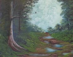 Hand painted oil called After The Rain in the Bob Ross painting style. $65.00, via Etsy.