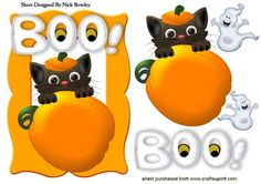 CAT WITH PUMPKIN AND LITTLE GHOSTS BOO!, Makes a great Halloween card, also check out the verses for Halloween lots of different ones to see