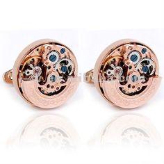 LS-527C Rose Gold Plating Mechanical Cufflink Watch Mechanism Cufflink $3~$10