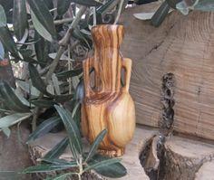 Ornamental olive wood vase from Ellenisworkshop by DaWanda.com