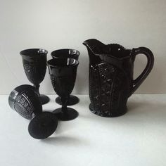 """Tiara black glass pitcher with goblets set """"found by me for you""""  View more at    JewelzAndBeyond"""