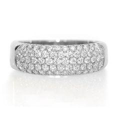 Pave Wedding Band, Dainty Ring, Unique Wedding Ring, 1 Carat Diamond Ring, 14K White Gold Wide Wedding Band, Womens Wedding Band