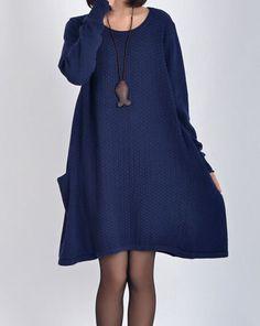 2 colors  Sweater dress knitwear cotton dress large by ElegantGens