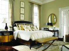 26 Awesome Green Bedroom Ideas   Mom and dad s house   Pinterest     Never been one for a Sage bedroom but I like this