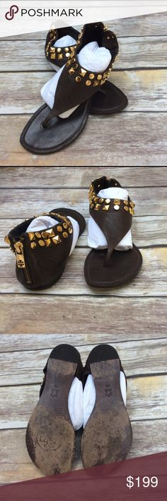 TORY BURCH THONG SANDALS Gold studded. Zippered back. Thong style. Still have lots of miles on these babies. So cute! True to size. Tory Burch Shoes Sandals