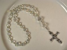 Anglican Prayer Beads-Rosary-Clear Crystal-with Silver Cross Diy Rosary Necklace, Crosses Decor, Prayer Beads, Clear Crystal, Prayers, Rosaries, Crystals, Altar, Silver