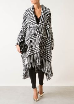 BALMAIN Balmain Houndstooth Fringed Coat. #balmain #cloth #