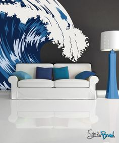 Graphic Vinyl Wall Decal Blue Ocean Wave #MCrespo105 !!!! The walls in my office are a chocolate brown color-- warm enough, but dark. Looking for colors and decor to counter it. Dunno if this is it, but it could be!