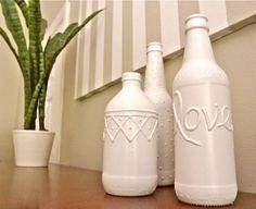 Beer bottle vases, how to make them yourself with steps and pictures, #beer bottle vase, #home made vases, #crafts, #decor diy-crafts