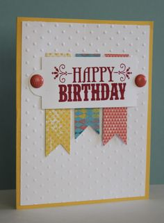 simple birthday cards stampin up Simple Birthday Cards, Handmade Birthday Cards, Happy Birthday Cards, Greeting Cards Handmade, Easy Handmade Cards, Birthday Banners, 25 Birthday, Birthday Quotes, Birthday Wishes