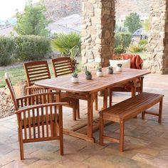 Shop for Galveston Acacia Wood Patio Dining Set by Havenside Home. Get free delivery On EVERYTHING* Overstock - Your Online Garden & Patio Shop! Get in rewards with Club O! Patio Bench, Wood Patio, Patio Table, Patio Dining, Dining Room Furniture, Outdoor Furniture Sets, Furniture Ideas, Deck Furniture, Furniture Design