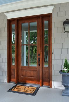 "New No Cost Farmhouse Front Door sidelights Concepts Interior designers often make reference to art as ""the jewelry of the house,"" but as it pertains Exterior Front Doors, Entry Door With Sidelights, Front Door Design, Wood Doors Interior, Craftsman Front Doors, Farmhouse Front Door, Exterior Doors With Sidelights, Glass Doors Interior, French Doors Interior"