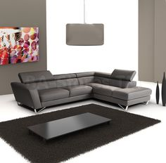 Sparta Italian Leather Sectional in Dark Gray