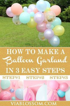 How to Make a Balloon Garland with 3 Easy Steps Via Blossom Obsessed with those gorgeous Balloon Garlands but have no idea how to make one? Learn how to make an easy Balloon Garland with 3 easy steps! Balloon Arch Diy, Balloon Backdrop, Balloons, Baby Shower Balloon Ideas, Balloon Decorations Without Helium, Rainbow Balloon Arch, Ballon Arch, Unicorn Balloon, Balloon Columns