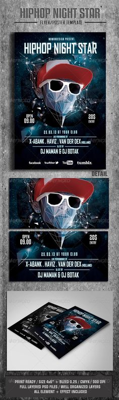 HipHop Night Star Flyer/Poster - GraphicRiver Item for Sale