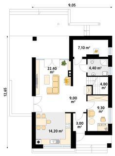 Rzut MT Amarant  paliwo stałe CE Modern Farmhouse Exterior, House Plans, Floor Plans, How To Plan, Houses, Casa De Campo, Blueprints For Homes, Home Plans, Contemporary Farmhouse Exterior