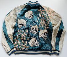 Japanese Vintage Script Punk Rock Sakura Cherry Blossoms Bone Skull Skeleton Blue Green Souvenir Sukajan Jacket - Japan Lover Me Store