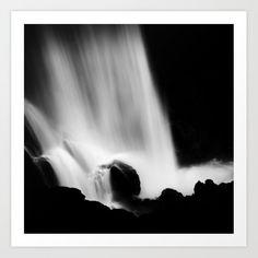 Black and white waterfall Art Print by kostaspavlis Buy Frames, Printing Process, Waterfall, Gallery Wall, Art Prints, Black And White, Artist, Artwork, Art Impressions