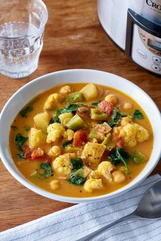 Full of chickpeas, potatoes, and cauliflower in a rich coconut milk broth.