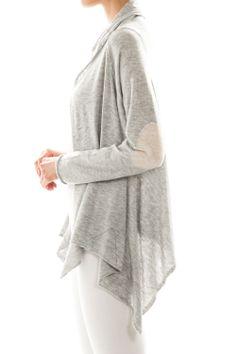 rhinestone elbow patch drape cardigan