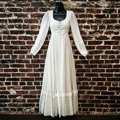 1970s Gunne Sax Dress. White Floral by SecondSkinWilmington