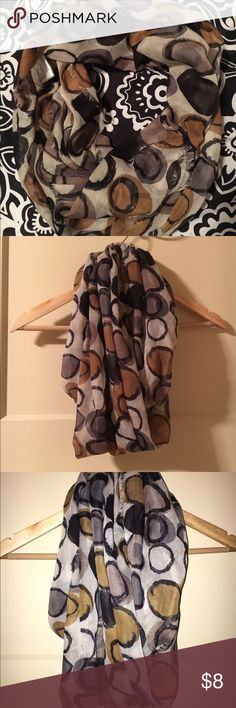 Boutique Infinity Scarf Like new infinity scarf from a boutique. Lighter grey with tan and darker grey polka dots. Two Chic Accessories Scarves & Wraps