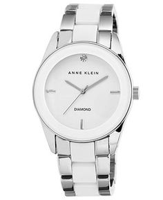 Anne Klein Watch, Women's Diamond Accent White Ceramic and Silver-Tone Bracelet 38mm AK-1437WTSV - Women's Watches - Jewelry & Watches - Mac...