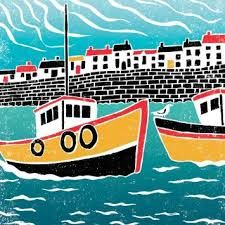 Image result for lino cuts of fishing boats