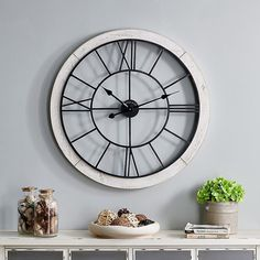 Firstime Timeworn Cottage Wall Clock In White/black - The rustic design of the FirsTime Timeworn Cottage Wall Clock will add a touch of farmhouse charm to any space. This clock features wrought iron numerals surrounded by a weathered frame. Hang it on your wall to dazzle your friends and family. Farmhouse Wall Clocks, Farmhouse Decor, Industrial Farmhouse, White Clocks, Interior Design Themes, Wall Clock Online, Beach Cottage Style, Wood Clocks, Home Decor Outlet