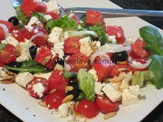 Insalata di anguria, feta, olive e pomodorini « kochen & backen leicht gemacht mit Schritt für Schritt Bilder von & mit Slava