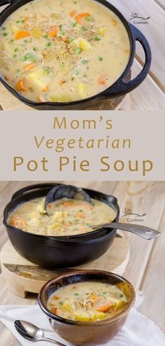 Mom's Vegetarian Pot Pie Soup is easy and delicious. No baking required, just . - Mom's Vegetarian Pot Pie Soup is easy and delicious. No baking required, just some stove-top work - Veggie Recipes, Whole Food Recipes, Vegetarian Recipes, Cooking Recipes, Healthy Recipes, Vegetarian Pot Pies, Vegetarian Sandwiches, Going Vegetarian, Vegetarian Breakfast