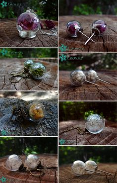 Botanical jewelry, Terrarium jewelry, Flowers in glass, Real flower jewelry, Dandelion jewelry, Make a wish