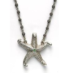 By the Sea Starfish Necklace designed by artist Mary DeMarco. Handcrafted in pewter and Capri Blue semi precious stones.