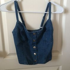 "Denim Button-up crop top stretchy back. 10"" length. 11"" width w/ stretchy back. never worn Body Central Tops Button Down Shirts"