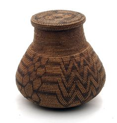 Africa | 20th century lidded basket from the Lozi people of Zambia.  Zambezi region.