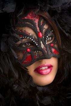 Red and black masque. Mask Girl, Hidden Beauty, Carnival Masks, Venetian Masks, Masquerade Party, Masquerade Masks, Masks Art, Beautiful Mask, Beautiful Smile