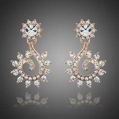 Sunflower Design Crystal Drop Earrings  #rings #women #necklace #khaista #earrings #fashion #jewelry #dresses #womensfashion
